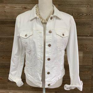 GAP Icon Denim Jacket Optic White Jean Jacket S